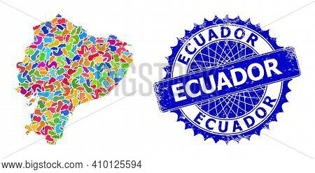 Ecuador Map Vector Image. Blot Mosaic And Rubber Badge For Ecuador Map. Sharp Rosette Blue Badge Wit