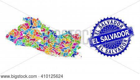 El Salvador Map Flat Illustration. Splash Mosaic And Distress Seal For El Salvador Map. Sharp Rosett
