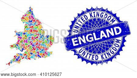 England Map Vector Image. Blot Mosaic And Grunge Mark For England Map. Sharp Rosette Blue Stamp With