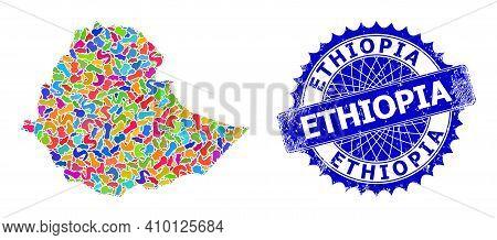 Ethiopia Map Flat Illustration. Splash Pattern And Distress Badge For Ethiopia Map. Sharp Rosette Bl