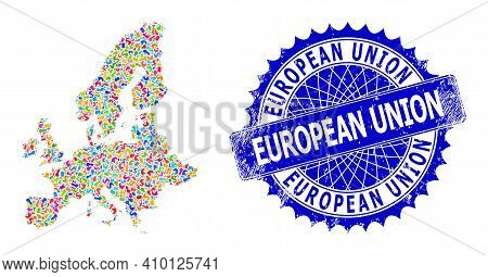 European Union Map Vector Image. Spot Mosaic And Unclean Seal For European Union Map. Sharp Rosette