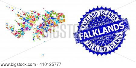 Falkland Islands Map Abstraction. Spot Mosaic And Rubber Seal For Falkland Islands Map. Sharp Rosett