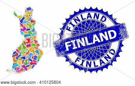 Finland Map Template. Splash Mosaic And Distress Stamp For Finland Map. Sharp Rosette Blue Stamp Wit