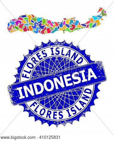 Flores Island Of Indonesia Map Vector Image. Spot Mosaic And Grunge Stamp For Flores Island Of Indon