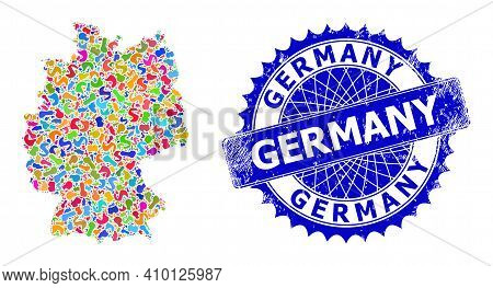 Germany Map Flat Illustration. Spot Collage And Grunge Seal For Germany Map. Sharp Rosette Blue Seal