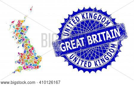 Great Britain Map Vector Image. Splash Mosaic And Rubber Seal For Great Britain Map. Sharp Rosette B