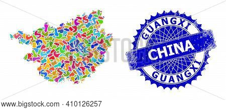Guangxi Province Map Abstraction. Splash Collage And Scratched Seal For Guangxi Province Map. Sharp