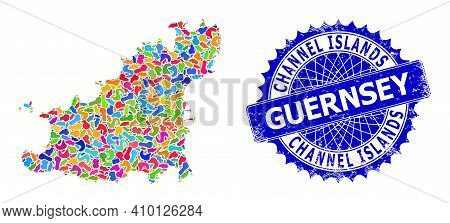 Guernsey Island Map Flat Illustration. Splash Pattern And Rubber Stamp Seal For Guernsey Island Map.
