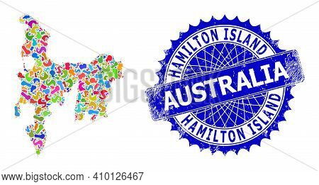 Hamilton Island Map Vector Image. Splash Collage And Unclean Badge For Hamilton Island Map. Sharp Ro