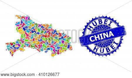Hubei Province Map Vector Image. Spot Mosaic And Unclean Badge For Hubei Province Map. Sharp Rosette