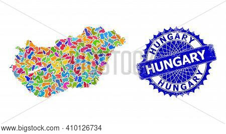 Hungary Map Vector Image. Splash Collage And Grunge Watermark For Hungary Map. Sharp Rosette Blue St