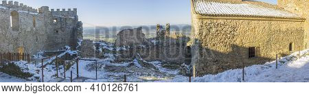 Snow-covered Montanchez Fortress. Roman Origin Castle, Rebuilt By Almohads And Used By Order De Sant