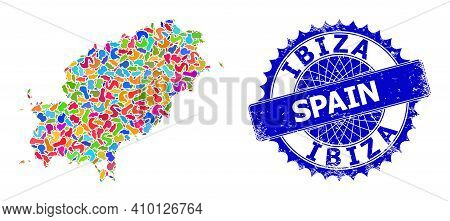 Ibiza Island Map Template. Spot Collage And Grunge Stamp Seal For Ibiza Island Map. Sharp Rosette Bl