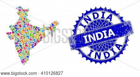 India Map Template. Splash Mosaic And Rubber Seal For India Map. Sharp Rosette Blue Badge With Text
