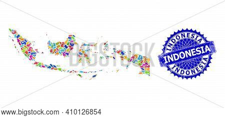 Indonesia Map Flat Illustration. Blot Mosaic And Corroded Seal For Indonesia Map. Sharp Rosette Blue