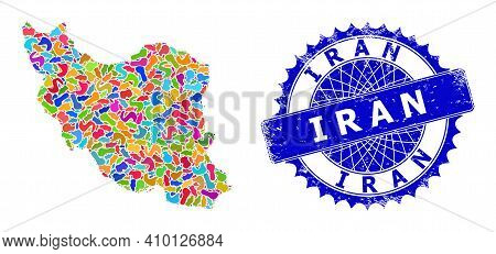 Iran Map Template. Splash Collage And Scratched Watermark For Iran Map. Sharp Rosette Blue Badge Wit