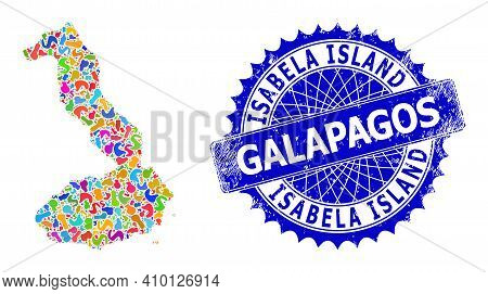 Isabela Island Of Galapagos Map Template. Splash Mosaic And Rubber Stamp For Isabela Island Of Galap