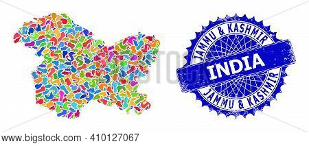 Jammu And Kashmir State Map Vector Image. Splash Mosaic And Unclean Watermark For Jammu And Kashmir