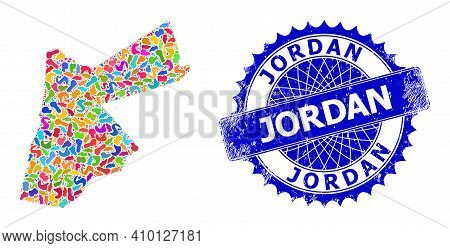 Jordan Map Template. Spot Collage And Scratched Stamp Seal For Jordan Map. Sharp Rosette Blue Seal W