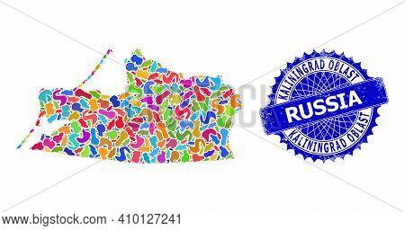 Kaliningrad Region Map Vector Image. Spot Pattern And Rubber Stamp For Kaliningrad Region Map. Sharp