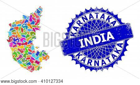 Karnataka State Map Abstraction. Blot Mosaic And Unclean Seal For Karnataka State Map. Sharp Rosette