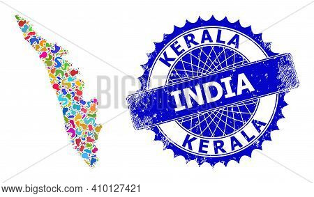 Kerala State Map Vector Image. Splash Pattern And Scratched Stamp Seal For Kerala State Map. Sharp R
