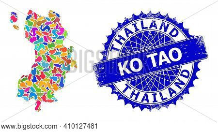 Ko Tao Map Template. Splash Collage And Rubber Seal For Ko Tao Map. Sharp Rosette Blue Mark With Tex