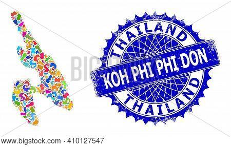 Koh Phi Don Map Flat Illustration. Splash Collage And Grunge Stamp For Koh Phi Don Map. Sharp Rosett
