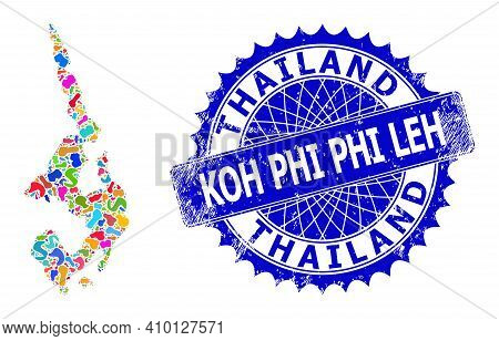 Koh Phi Leh Map Template. Splash Collage And Corroded Stamp Seal For Koh Phi Leh Map. Sharp Rosette