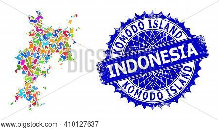 Komodo Island Map Flat Illustration. Splash Pattern And Scratched Stamp For Komodo Island Map. Sharp