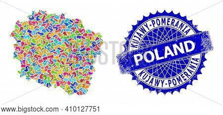Kujawy-pomerania Province Map Abstraction. Spot Mosaic And Grunge Seal For Kujawy-pomerania Province