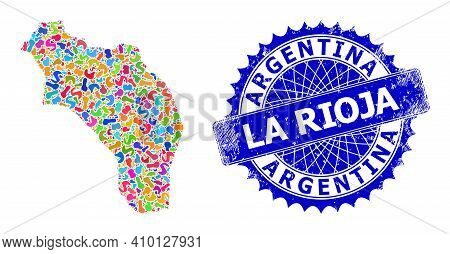 La Rioja Of Argentina Map Template. Spot Mosaic And Unclean Seal For La Rioja Of Argentina Map. Shar