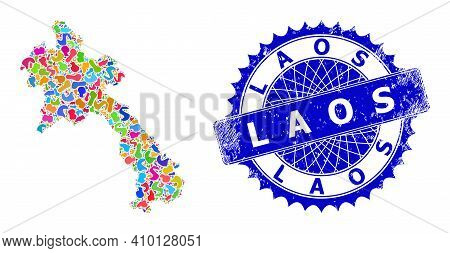 Laos Map Abstraction. Spot Collage And Unclean Stamp Seal For Laos Map. Sharp Rosette Blue Stamp Sea