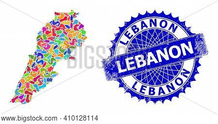 Lebanon Map Vector Image. Blot Mosaic And Distress Stamp For Lebanon Map. Sharp Rosette Blue Stamp W