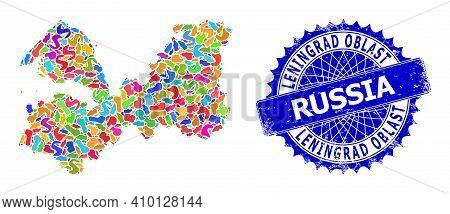Leningrad Region Map Vector Image. Spot Mosaic And Rubber Seal For Leningrad Region Map. Sharp Roset