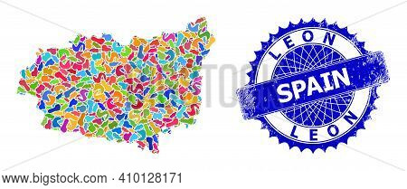 Leon Province Map Vector Image. Splash Collage And Distress Badge For Leon Province Map. Sharp Roset