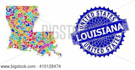 Louisiana State Map Vector Image. Spot Collage And Rubber Seal For Louisiana State Map. Sharp Rosett
