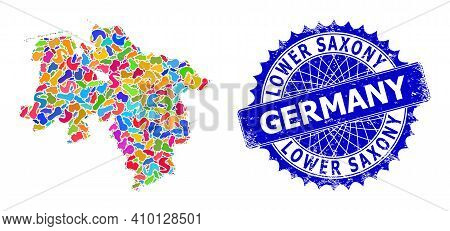 Lower Saxony Land Map Vector Image. Splash Collage And Unclean Badge For Lower Saxony Land Map. Shar