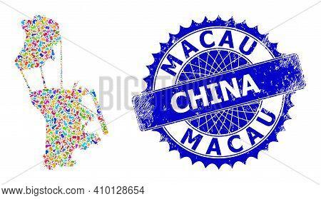 Macau Map Vector Image. Spot Pattern And Grunge Mark For Macau Map. Sharp Rosette Blue Mark With Cap