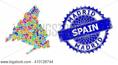 Madrid Province Map Flat Illustration. Spot Pattern And Rubber Stamp For Madrid Province Map. Sharp