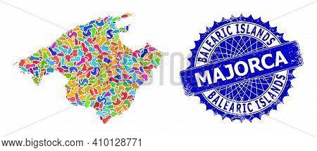 Majorca Map Vector Image. Splash Collage And Distress Watermark For Majorca Map. Sharp Rosette Blue