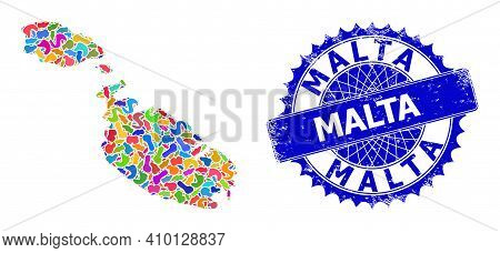 Malta Map Vector Image. Blot Mosaic And Scratched Watermark For Malta Map. Sharp Rosette Blue Seal W
