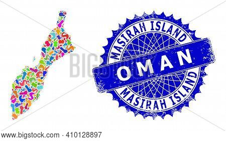 Masirah Island Map Flat Illustration. Spot Mosaic And Scratched Mark For Masirah Island Map. Sharp R