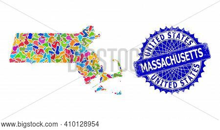 Massachusetts State Map Abstraction. Splash Collage And Distress Seal For Massachusetts State Map. S