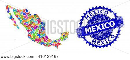 Mexico Map Vector Image. Splash Mosaic And Grunge Stamp For Mexico Map. Sharp Rosette Blue Stamp Wit