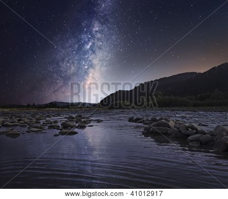 Starry Sky Over Mountain River