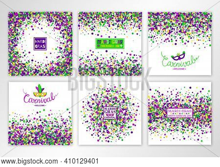 Mardi Gras Carnival Background Set. Concept Design Kit In Bright Colors With Masquerade Mask. Vector