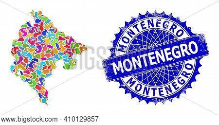 Montenegro Map Abstraction. Spot Mosaic And Grunge Badge For Montenegro Map. Sharp Rosette Blue Badg