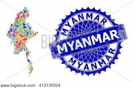 Myanmar Map Vector Image. Spot Collage And Distress Seal For Myanmar Map. Sharp Rosette Blue Stamp S