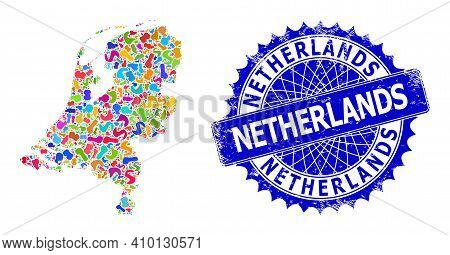 Netherlands Map Abstraction. Spot Mosaic And Scratched Seal For Netherlands Map. Sharp Rosette Blue